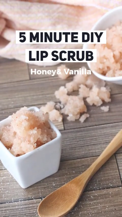 A five-minute, easy diy recipe to exfoliate your lips and keep them smooth. All natural ingredients perfect for self care and homemade gifts #lipscrub #lipscrubrecipe #sugarscrub #saltscrub #diy #easydiy #diyrecipe #natural
