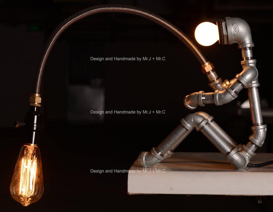 Plafoniere Industrial Style : Ebe designer industrial lighting steampunk lamp table edison