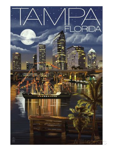 Tampa, Florida - Skyline at Night Prints by Lantern Press - at AllPosters.com.au