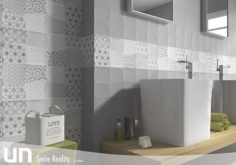 formatos 23_5x58 reality estancias baos azulejos lisos de efectos metalizados con piezas cermica a rayas y pavimentos de lnea minimalista para decorar - Baos Azulejos