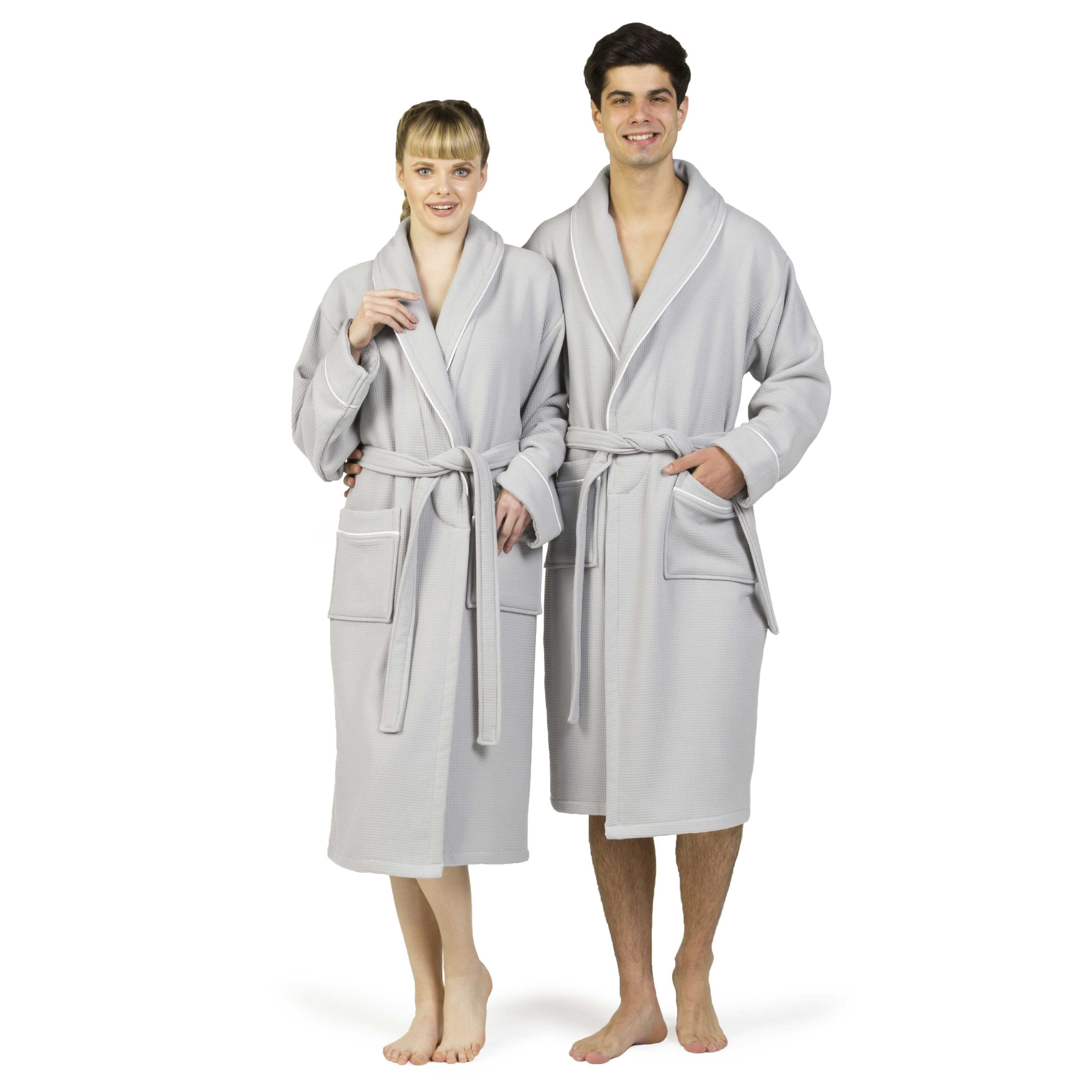 Authentic Hotel Spa Unisex Turkish Cotton Waffle Weave Terry Bath Robe ( Light Grey White fe5465275