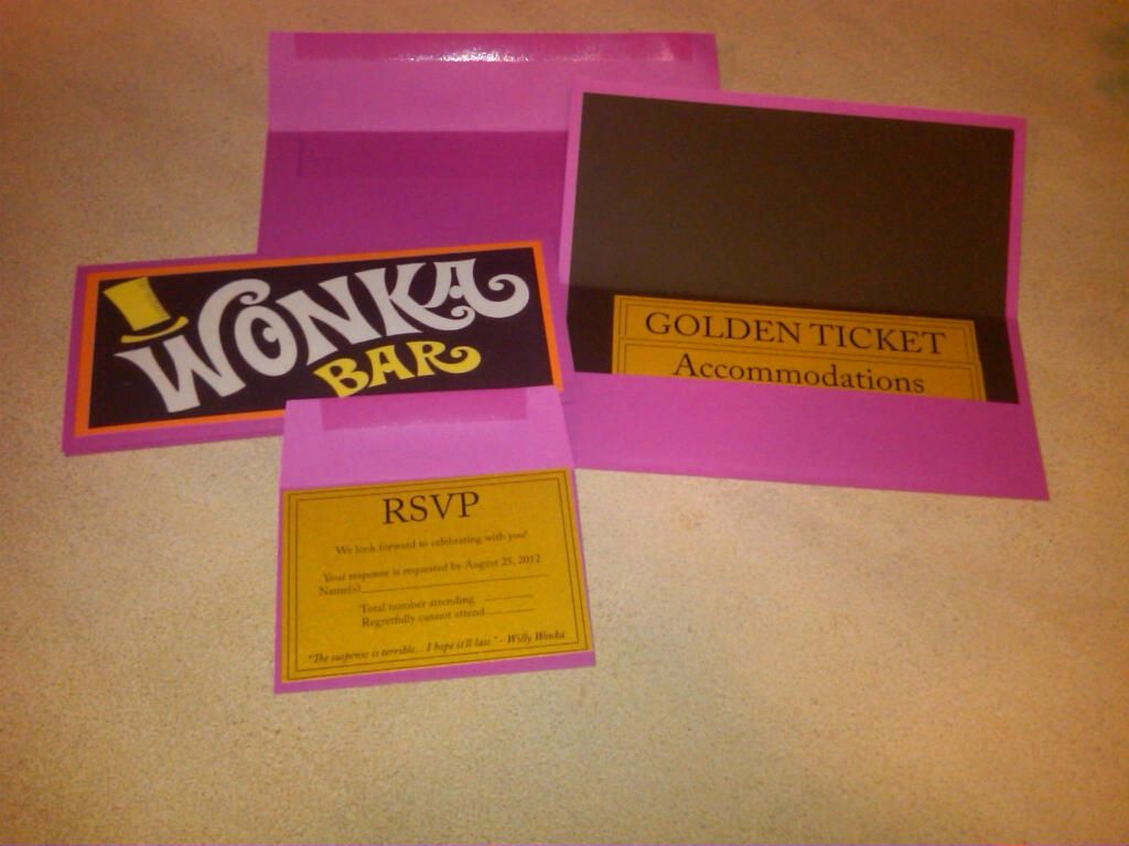 The final version of our own Willy Wonka Theme Weddings invite