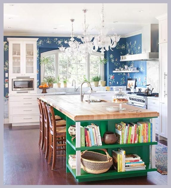 BHG Viva Jewel Box Kitchen Emerald Green Island With Open Shelving For Cookbooks Butcher Block Top Floral Wallpaper Adds Interest To White Decorating