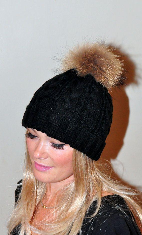 Black Beanie Hat Fur Pom Pom Hat Ski Women Hat Cabled by lucymir ... 47bf41b3790