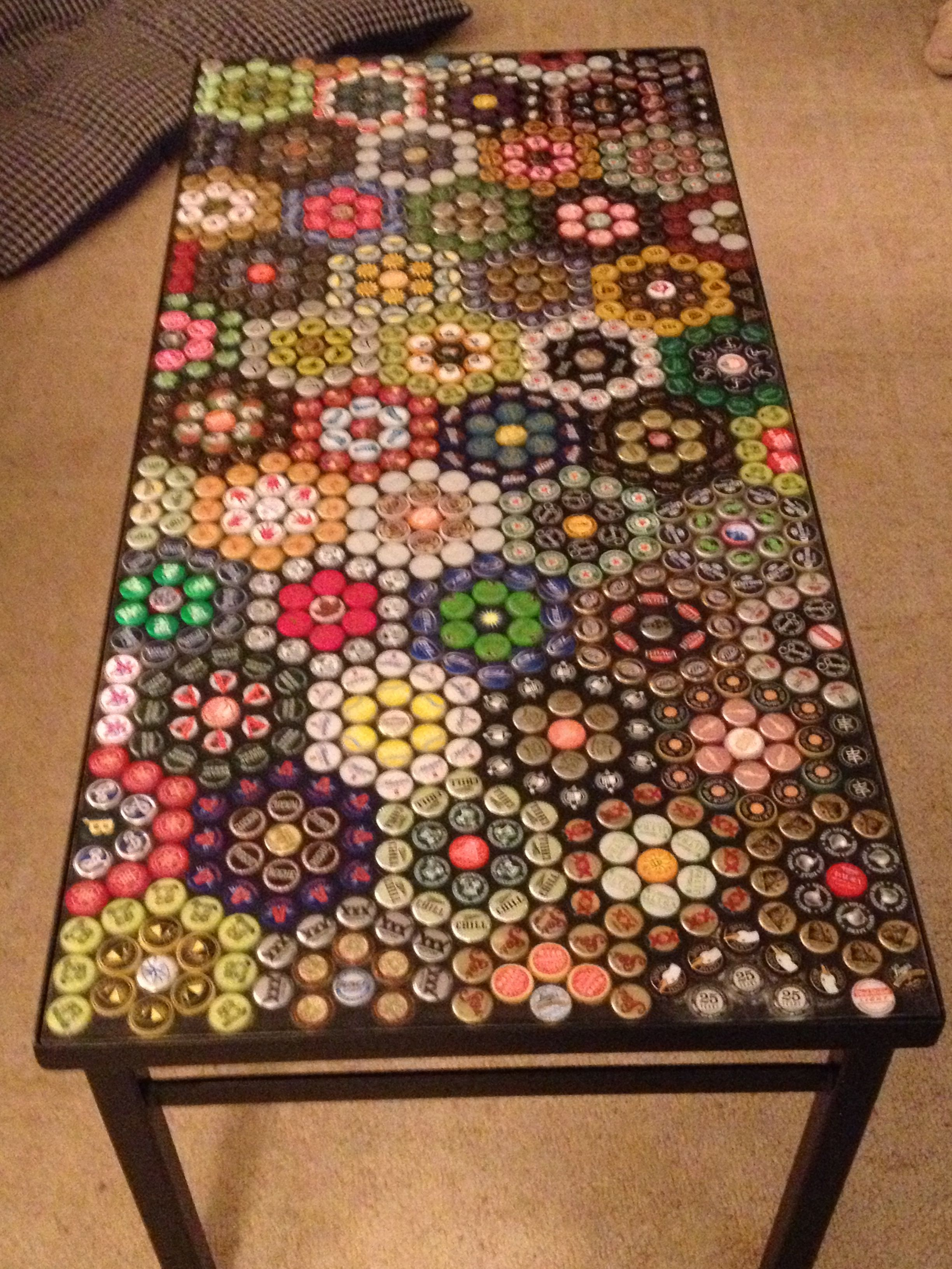 bottle cap furniture. our bottle cap table finally finished furniture l