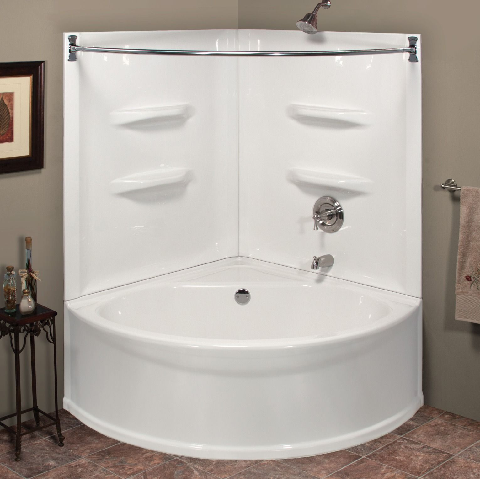 What A Beautiful Bathroom With The Sea Wave 48 X 48 X 73 Bathtub And Wall Kit You Can Create Your Own Tub Shower Combo Shower Tub Corner Bathtub Shower
