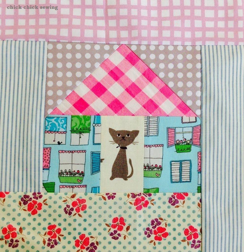 chick chick sewing: LeMoyne Star and Cat in the House Quilt Block Finished! ♪ パッチワーク♪ レモンスターと、こねこのおうち