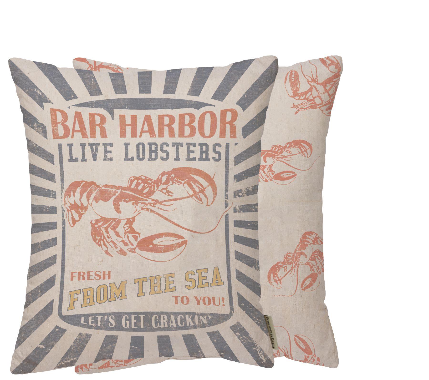 Bar harbor lobster feed sack pillow
