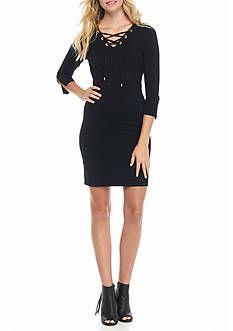 Calvin Klein Lace Up Front Sweater Dress Dress Dresses
