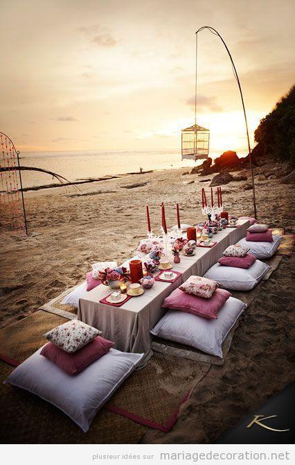 Repas mariage sur la plage style chill out mariage tendances 2017 pinterest centre Centre table mariage plage idees