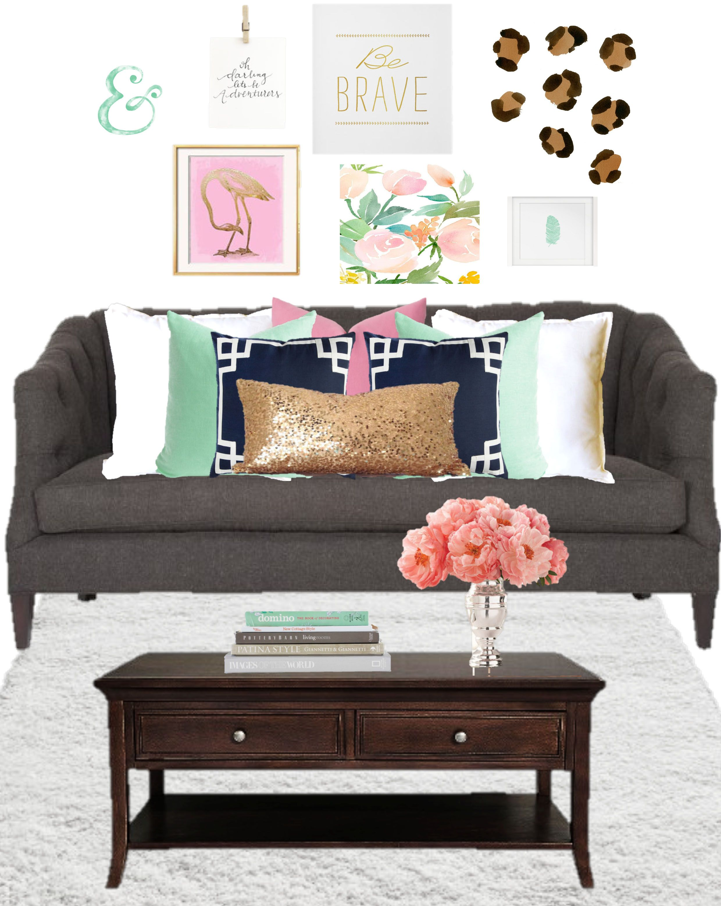 Birch Grove Interiors, Grey couch, pastel home decor, gold sequin pillow, pink peonies, floral wall art, gallery wall, mint green and pink pillows