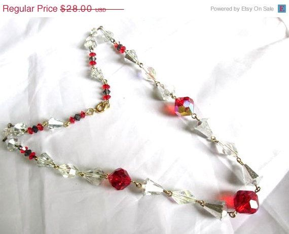 ON SALE Art Deco Cut Red Crystal Glass Necklace by OurBoudoir, $25.20