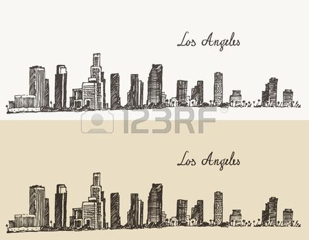 Stock Vector Los Angeles Skyline Engraving Illustration Skyline