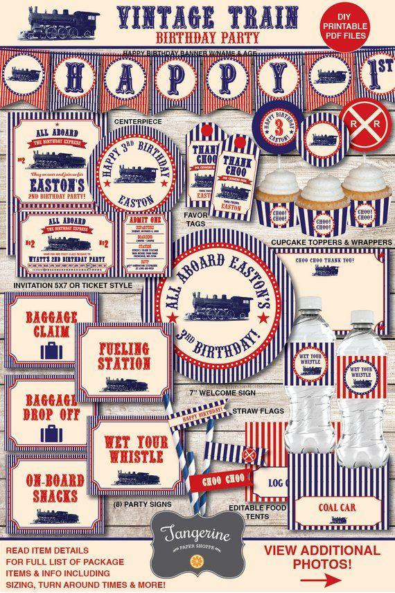 Train Birthday Invitation Vintage