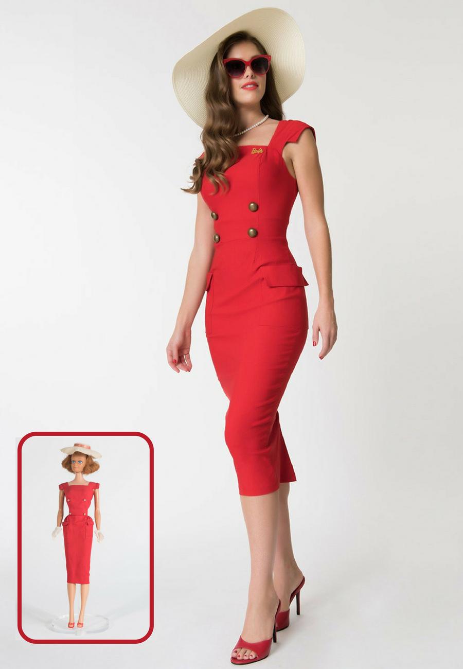 19bbf83b2e9 Red sheath vintage style dress
