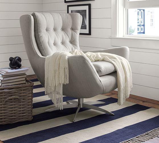 Wells Upholstered Swivel Armchair - Sunbrella Boss Tweed Pebble - möbel boss wohnzimmer