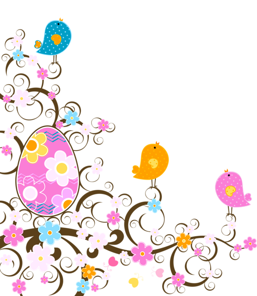 Easter decoration with flowers png transparent clipart