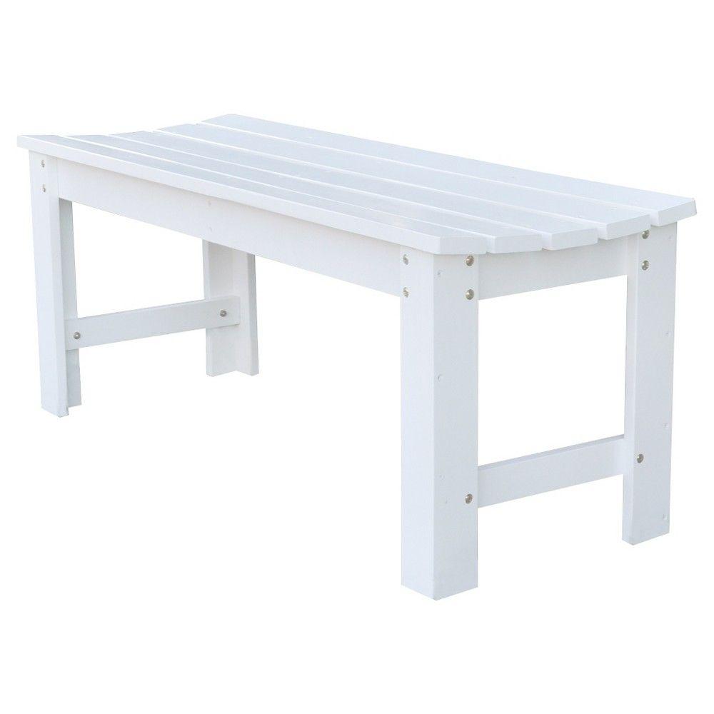 Backless Garden Bench - White (4 Feet)