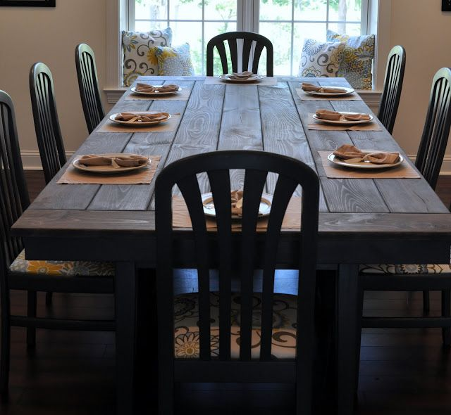 Farmhouse Table - I would like the top of our table to look like this. Planks, color and all