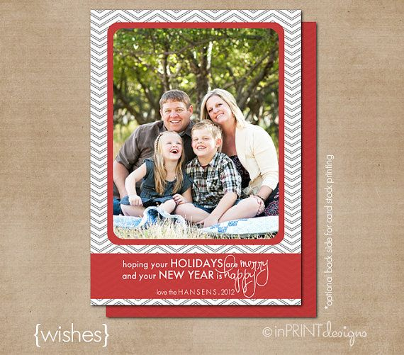 Photo Christmas Card Digital or Printed Wishes by inPRINTdesigns