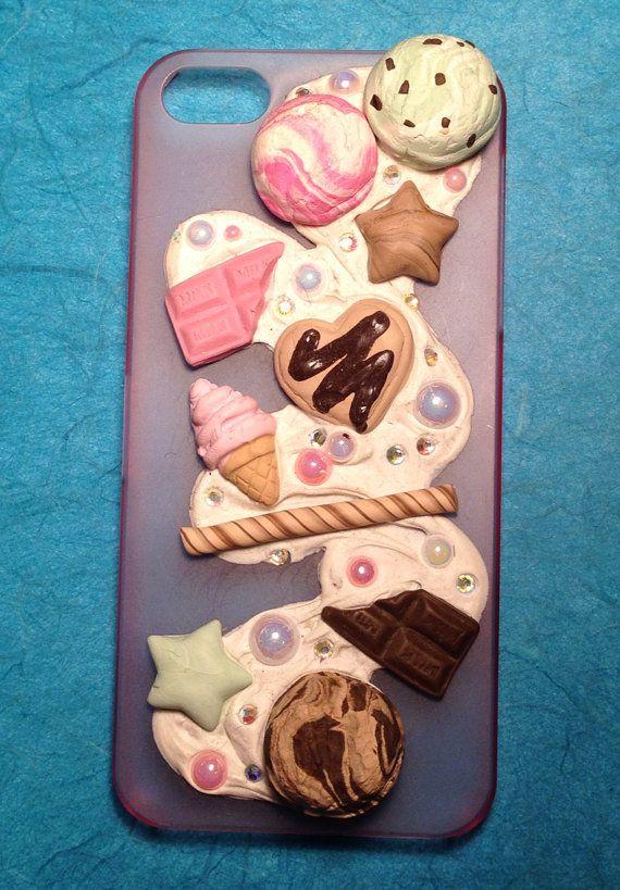 iPhone 5S 5 Case - Sweet Cream Dessert Chocolate Swirl Case  - Kawaii iPhone 5 Decoden Case on Etsy, $20.00