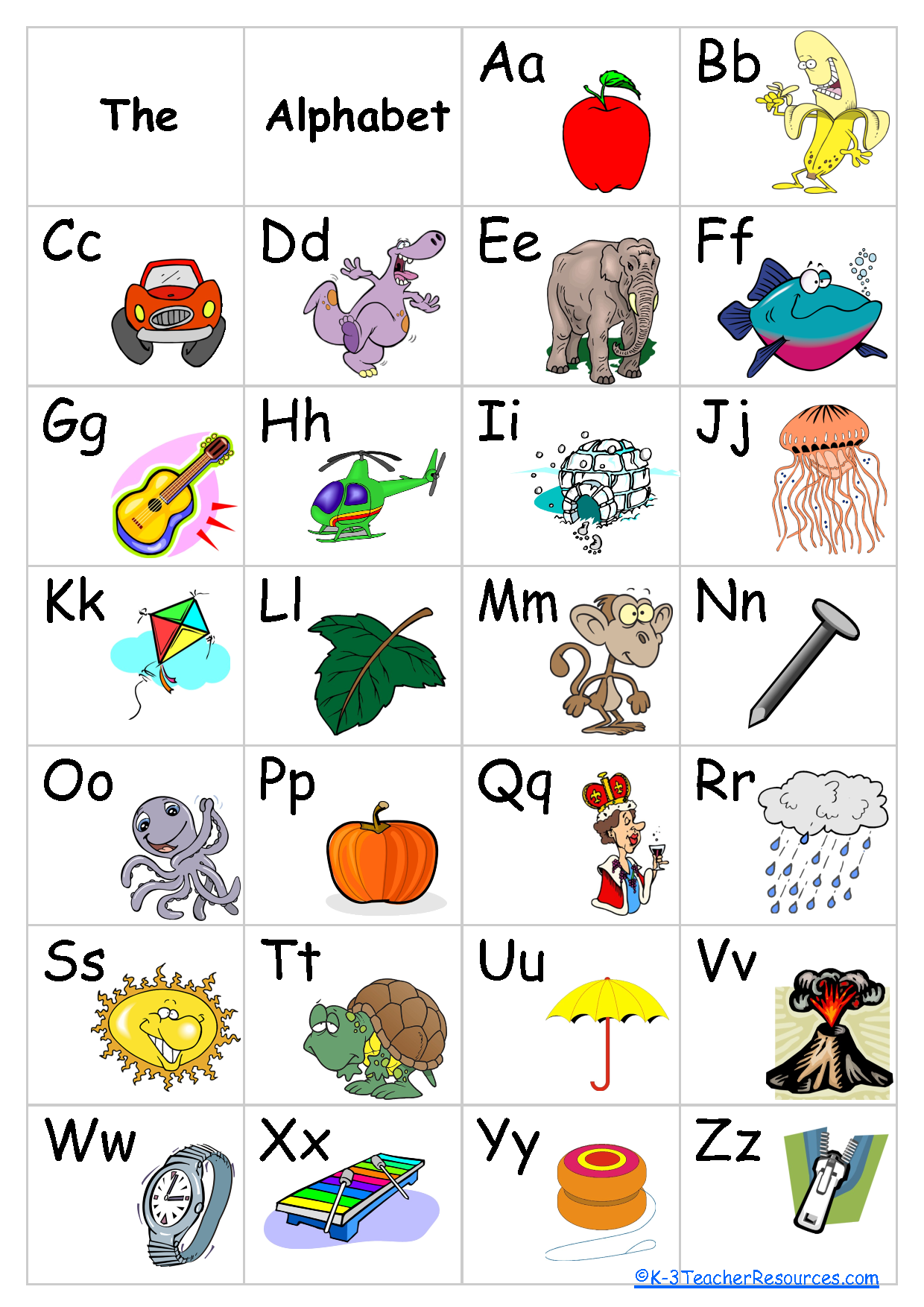Free Printable Alphabet Chart Schoolroom ideas