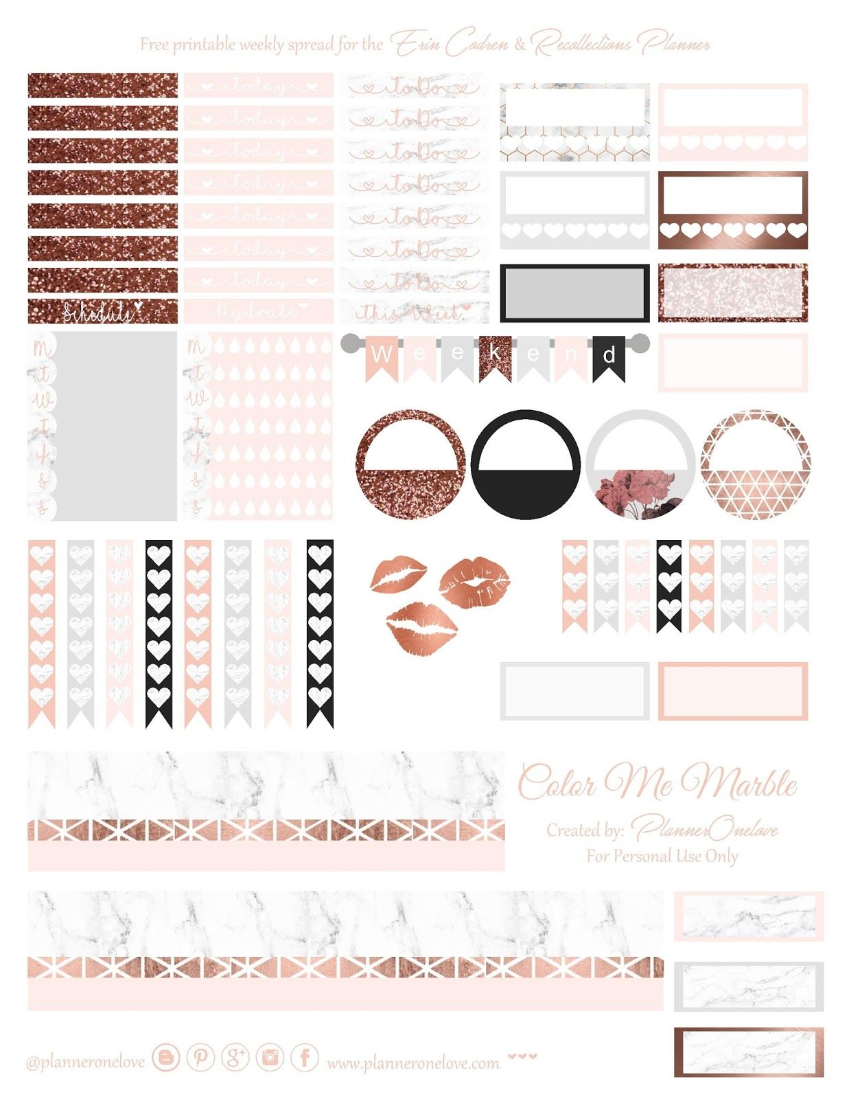 Free Marble Amp Rose Gold Printable Spread For Erin Condren Amp Recollections Planner