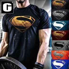 eac367c3f78dd Men s Superman Gym Singlets T-Shirt Bodybuilding Fitness Sports Clothes   everyday