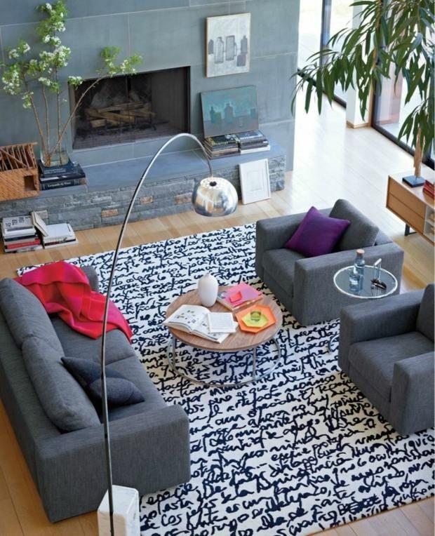 anthrazitgraue w nde wohnzimmer gestalten ideen dywany. Black Bedroom Furniture Sets. Home Design Ideas