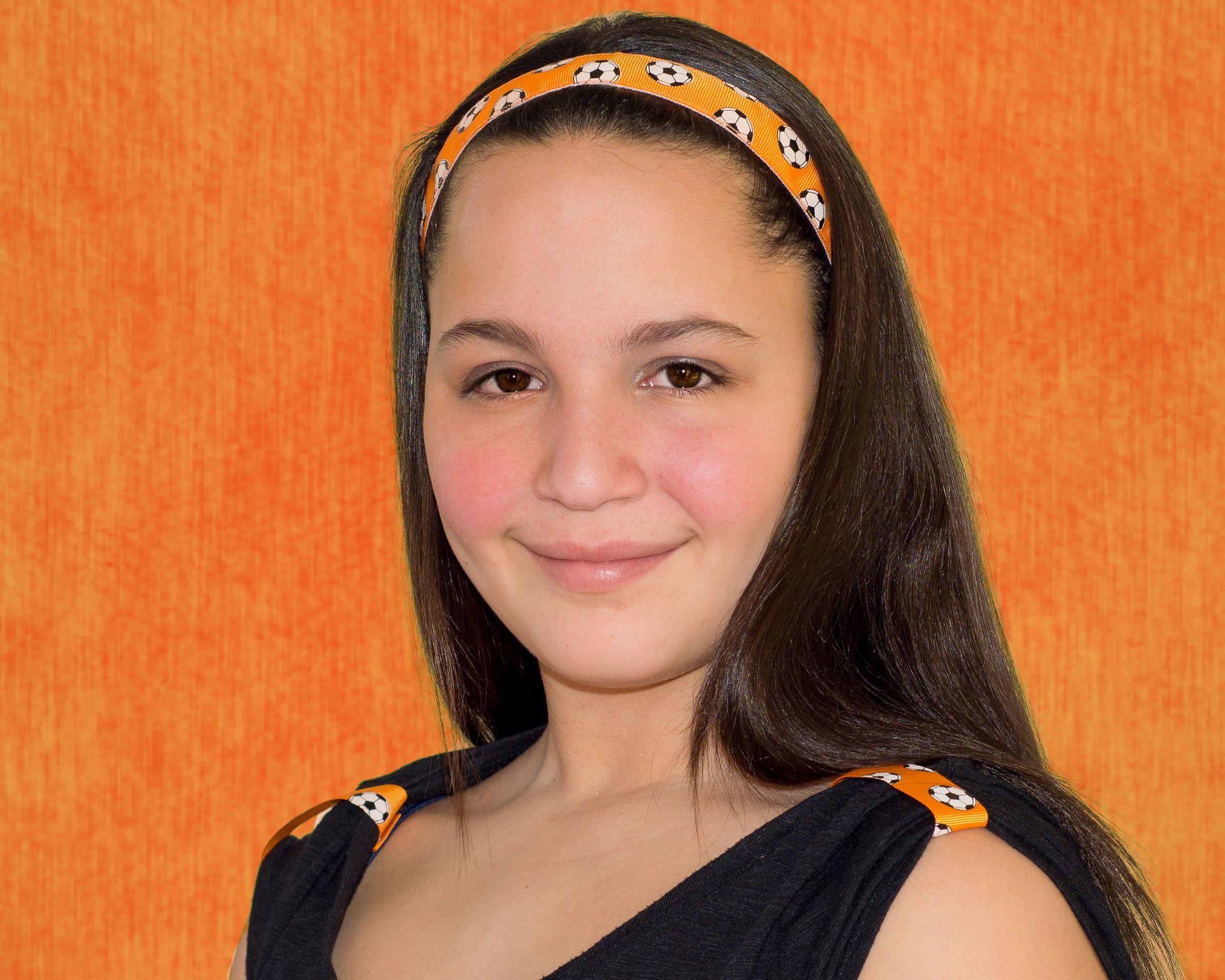 7 8 Orange Soccer Balls Go Girl Headband With Matching T Loops Soccer Girl Girl Girls Headbands