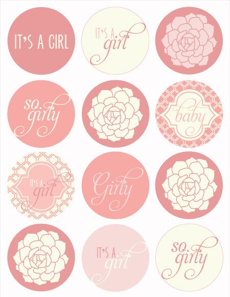 Vintage pink baby shower printable party circles instant download by love the day printable for Printable baby shower tags