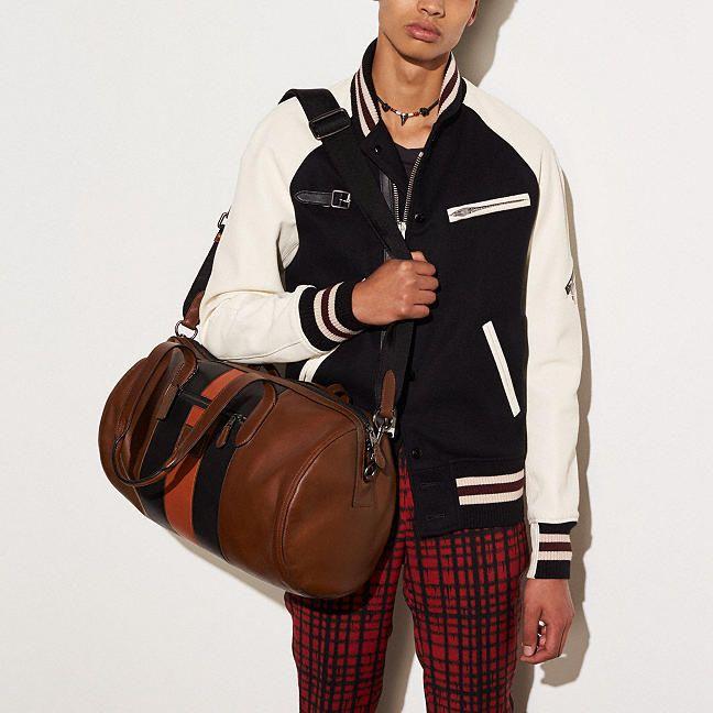 f12ff615879f Metropolitan Soft Gym Bag in Varsity Stripe Sport Calf Leather ...