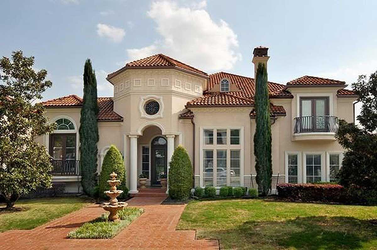 Plan 36444tx Bold Mediterranean House Plan In 2021 Mediterranean House Plan Luxury House Plans Luxury Plan