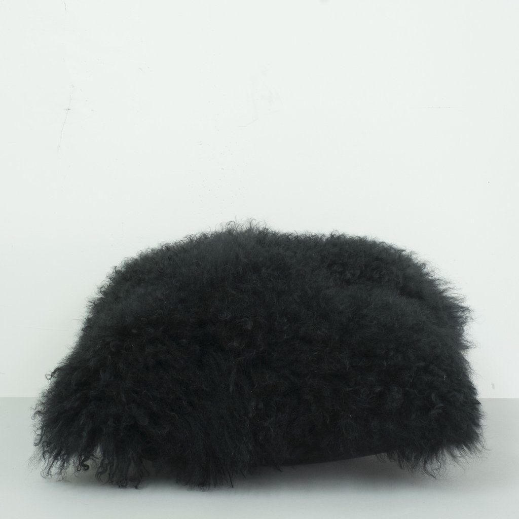 Tibetan Lambs Wool Cushion Cover- BLACK | Alex & Corban Home
