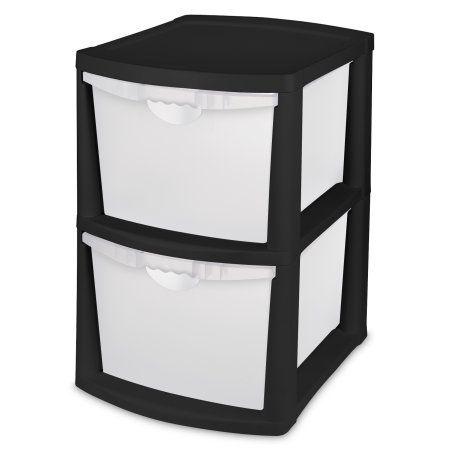 Sterilite 2 Bin Storage System Case Of 1 Black Drawer Unit Drawer Bins