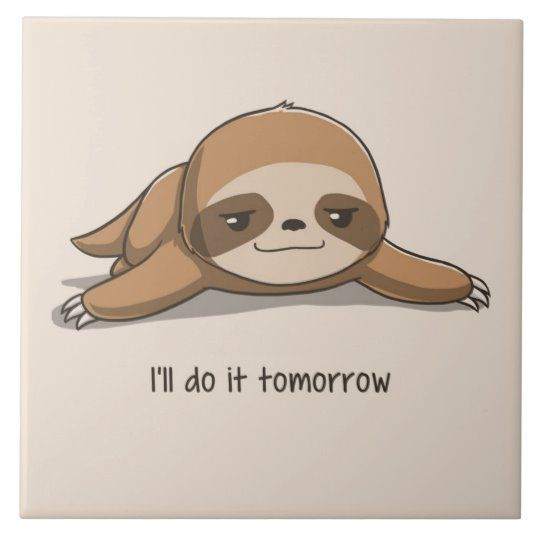Cute animated Sloth Ceramic Tile | Zazzle.com