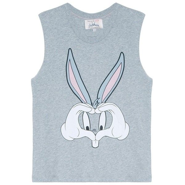 PAUL JOE SISTER Looney Tunes Bugs Bunny Top (90 CAD) ❤ liked on Polyvore featuring tops, blue top, cut off tank, blue tank top, cut off tank top and blue tank