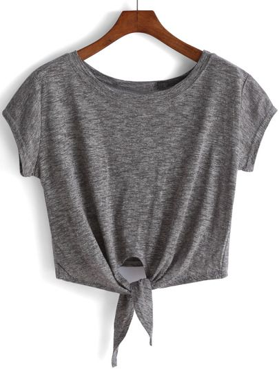 ee463070a6b49e Camiseta anudada crop -gris | Ropa | Ropa de baile, Ropa de ensayo y ...