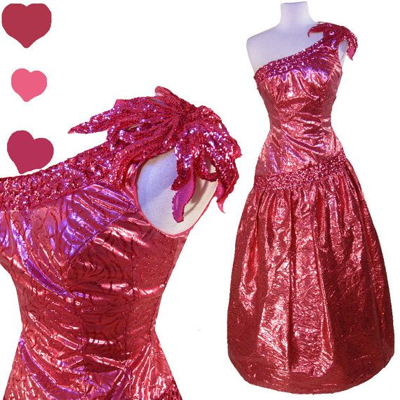 Dress Vintage 80s PINK LAMÉ Glam Sequin PROM Party Dress S Mike ...