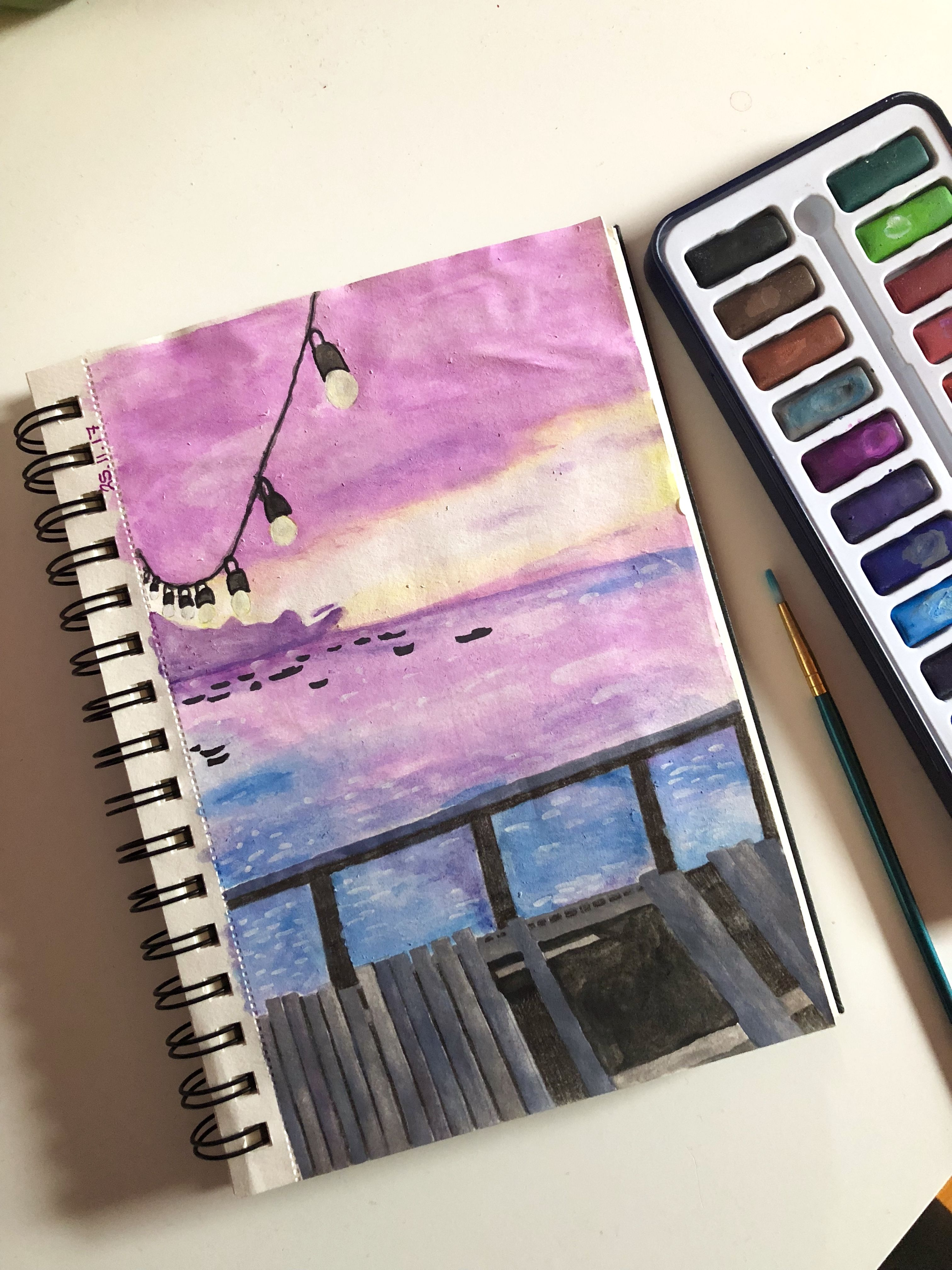 aquarell acryl malen malerei zeichnen kunst art sea ozean meer sunset