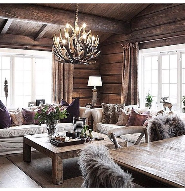 33 Modern Style Cozy Wooden Kitchen Design Ideas: A Small, Cozy Cabin With Unfinished Logs, Wood Beams