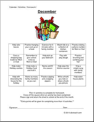Monthly Activity Calendars December  PrekElementarySpecial