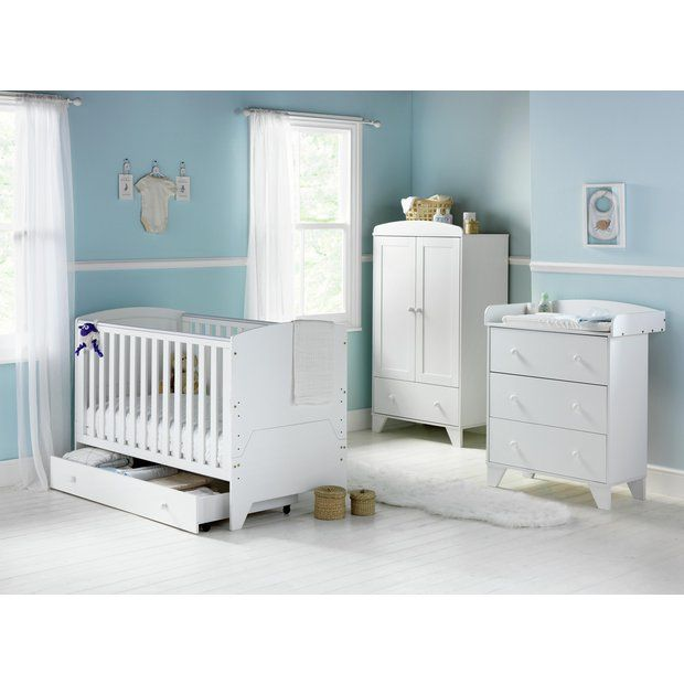 Gbp34999 babystart new oxford 5 piece furniture set white for White bedroom furniture argos