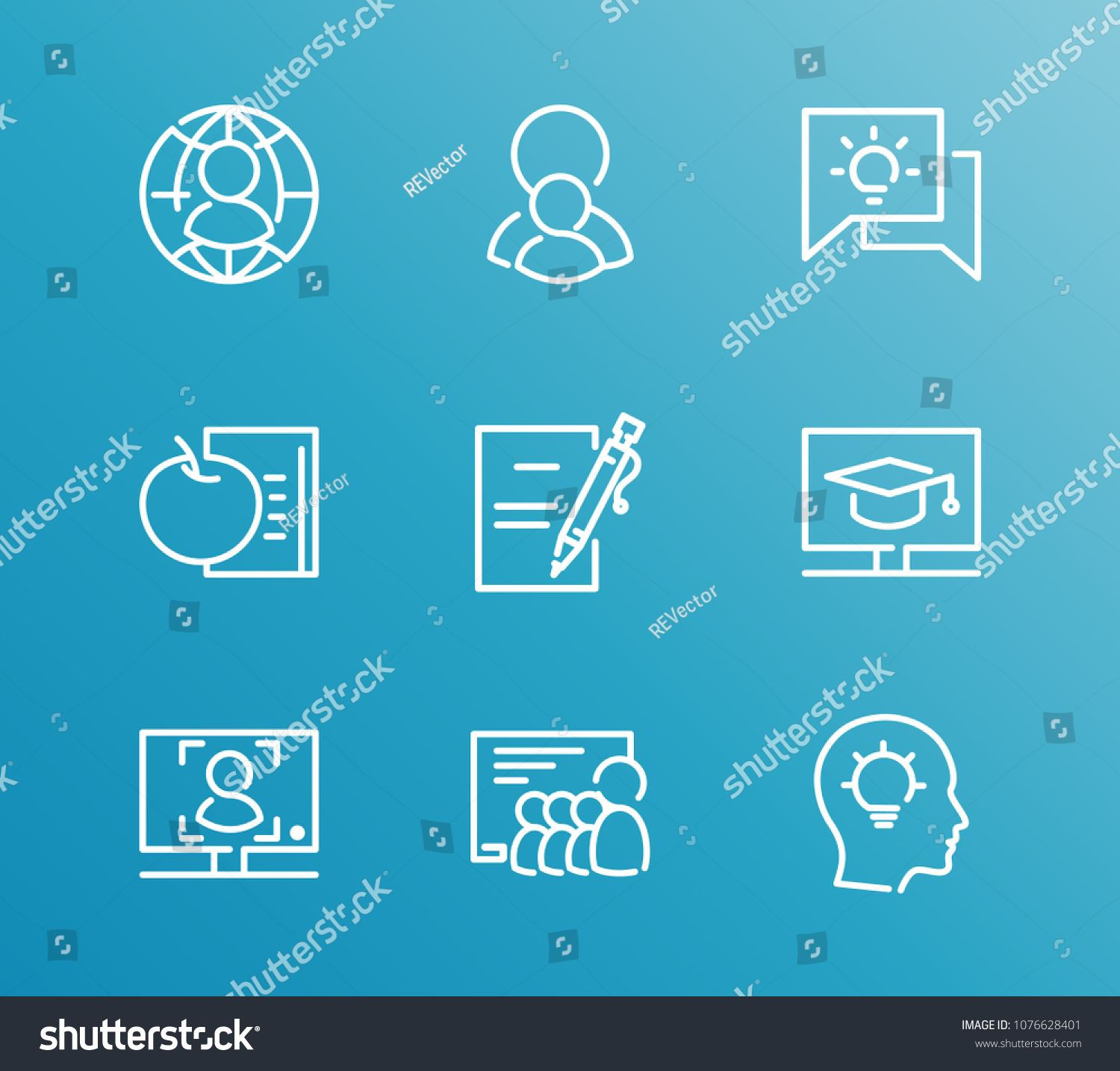 Online Education Icon Set And Online Course With Education Advisor