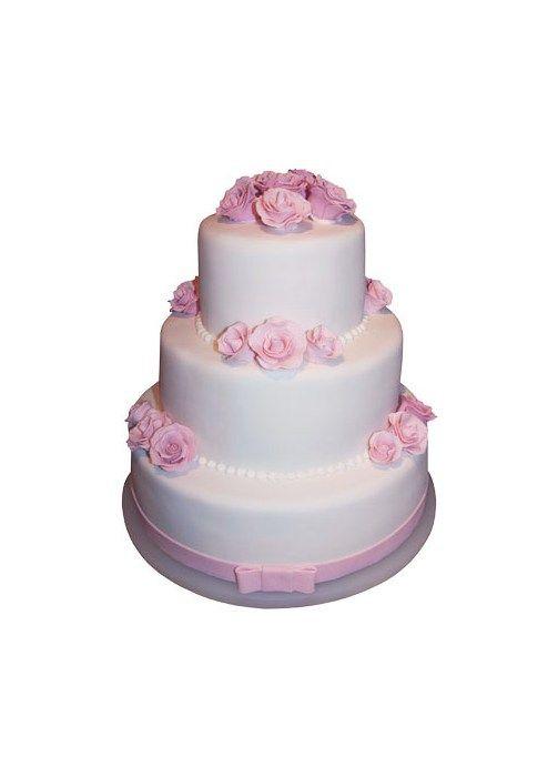 Feminin bryllupskage med lyserøde roser