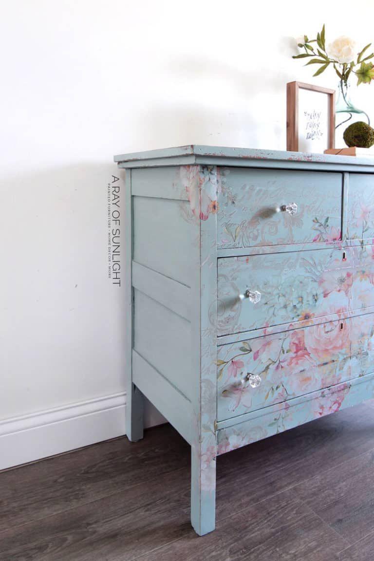 Easy Diy Teal Dresser With Floral Transfer Shabby Chic Dresser Teal Dresser Teal Painted Dressers