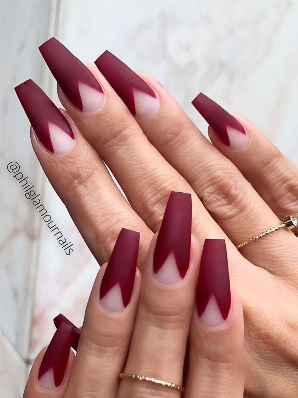 Most Beautiful Fall Nail Designs 2019 Stylish Belles Burgundy Matte Nails Burgundy Acrylic Nails Burgundy Nails