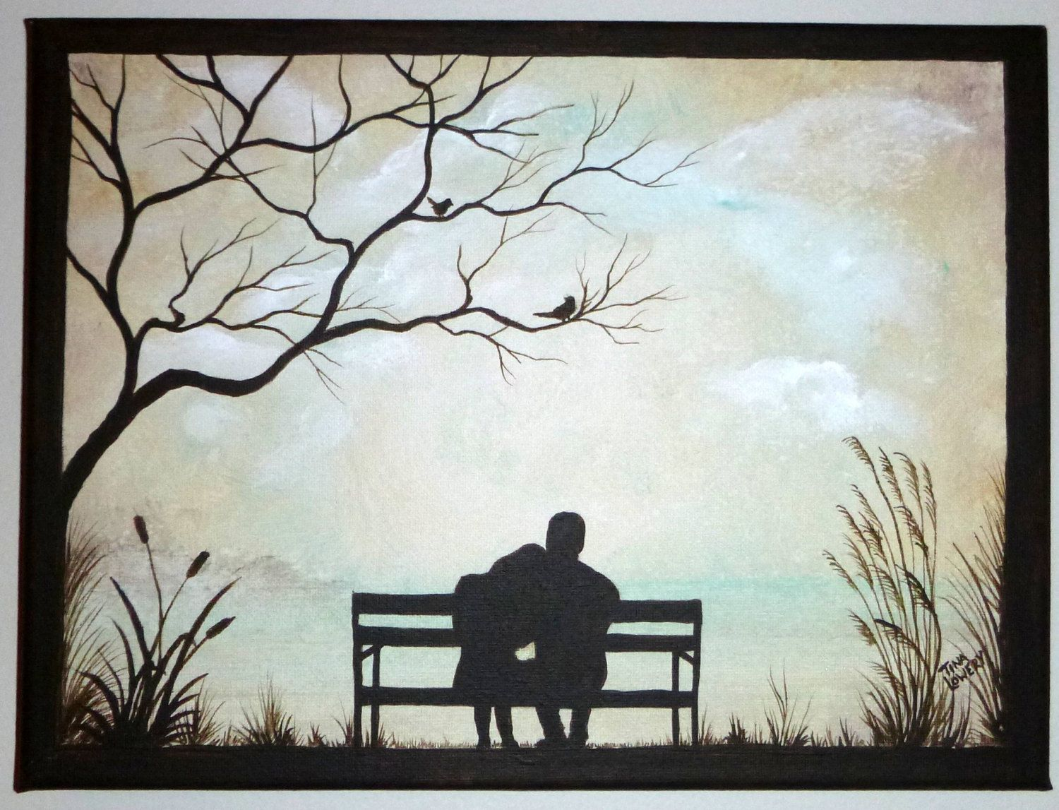 Couple On Park Bench Original Painting Small 9 X 12 Great Gift
