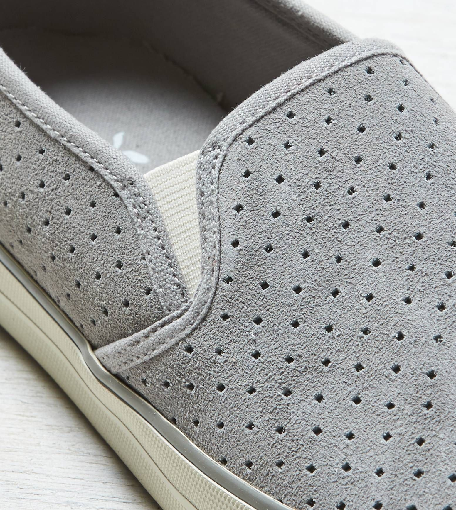 Grey AEO Perforated Slip-on Suede Sneaker