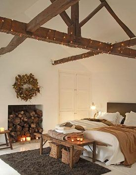 Twinkle Lights On The Ceiling Beams Awesome Exposed Beams Bedroom Pretty Bedroom Bedroom Ceiling Light